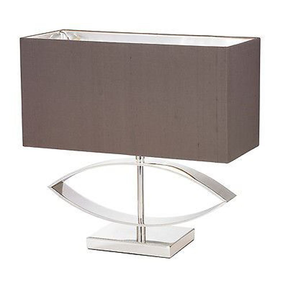 Tramline Silver Cast Metal Table Lamp With Taupe Silk Rectangular