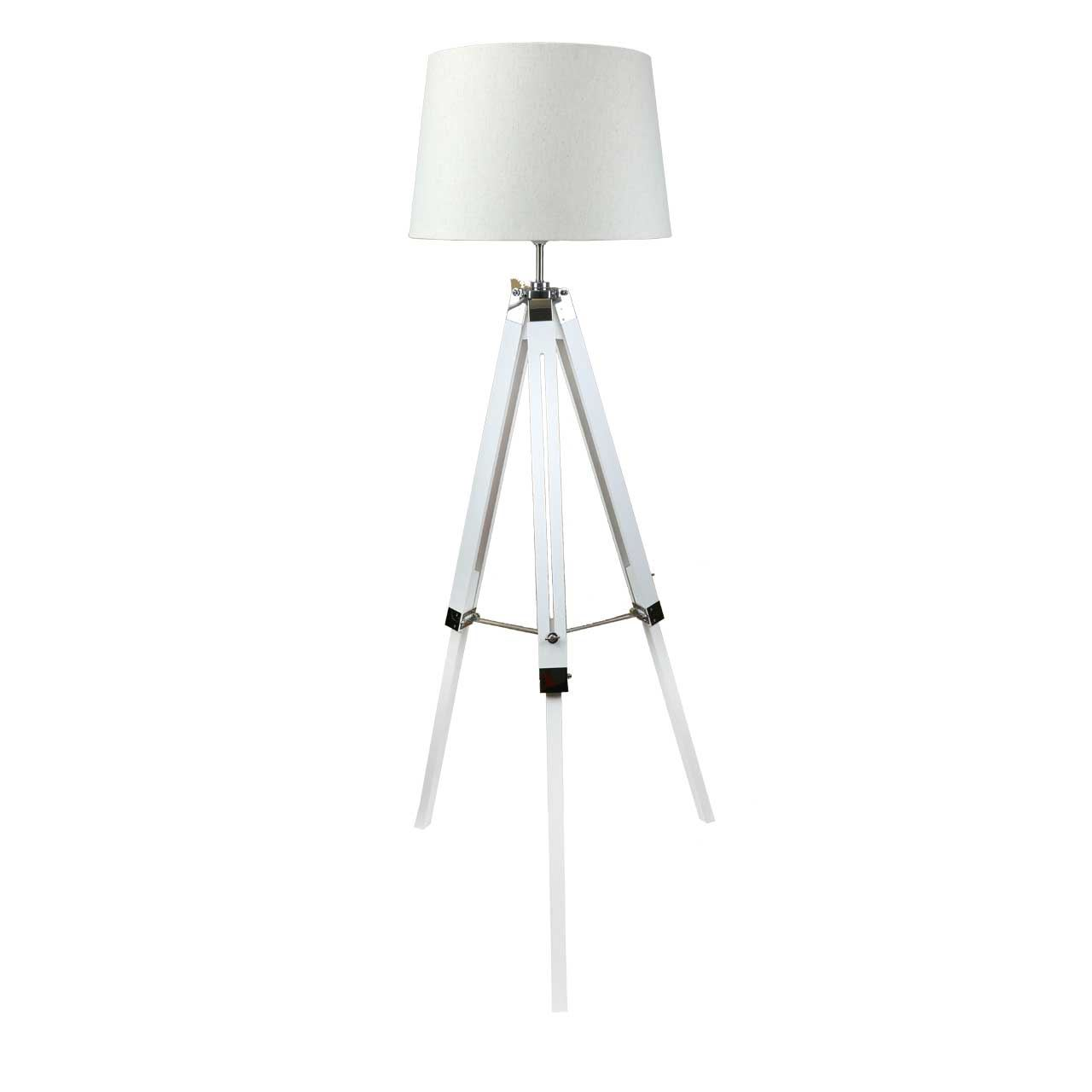 Modern White Wood Tripod Floor Lamps Bedside Light Lampshade - Big Living