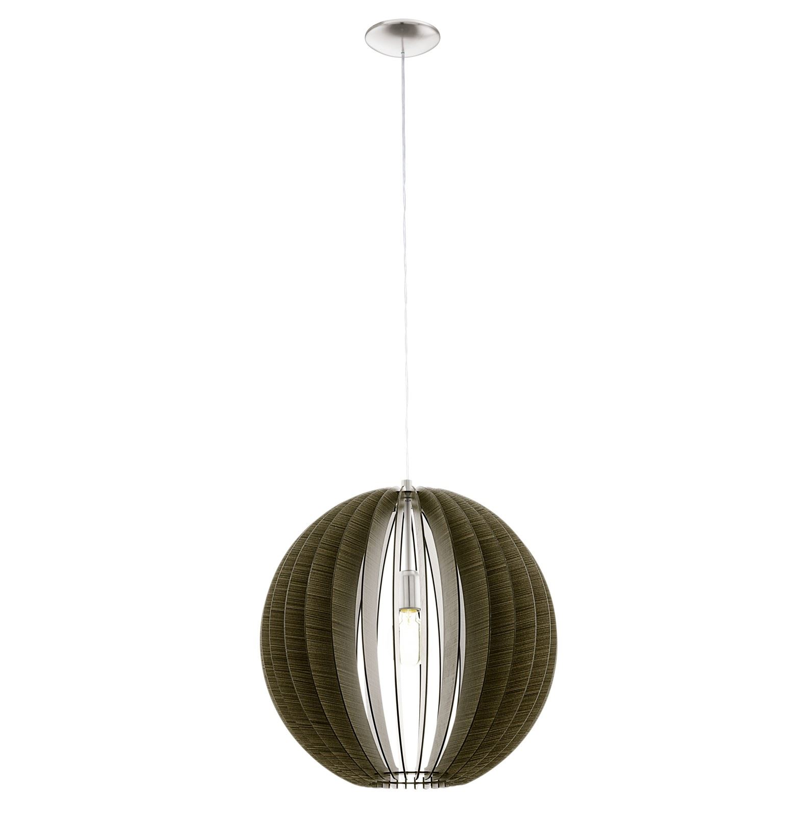 Cossano Satin Nickel Hanging Light E27 Dia 500mm Wood Dark Brown Shade
