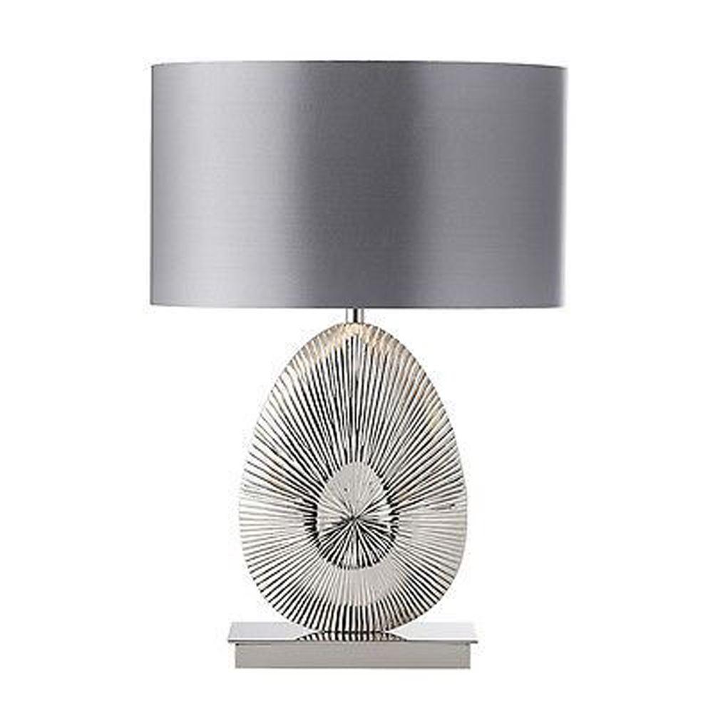 Simeto Polished Nickel Table Lamp With Warm Grey Faux Satin Shade
