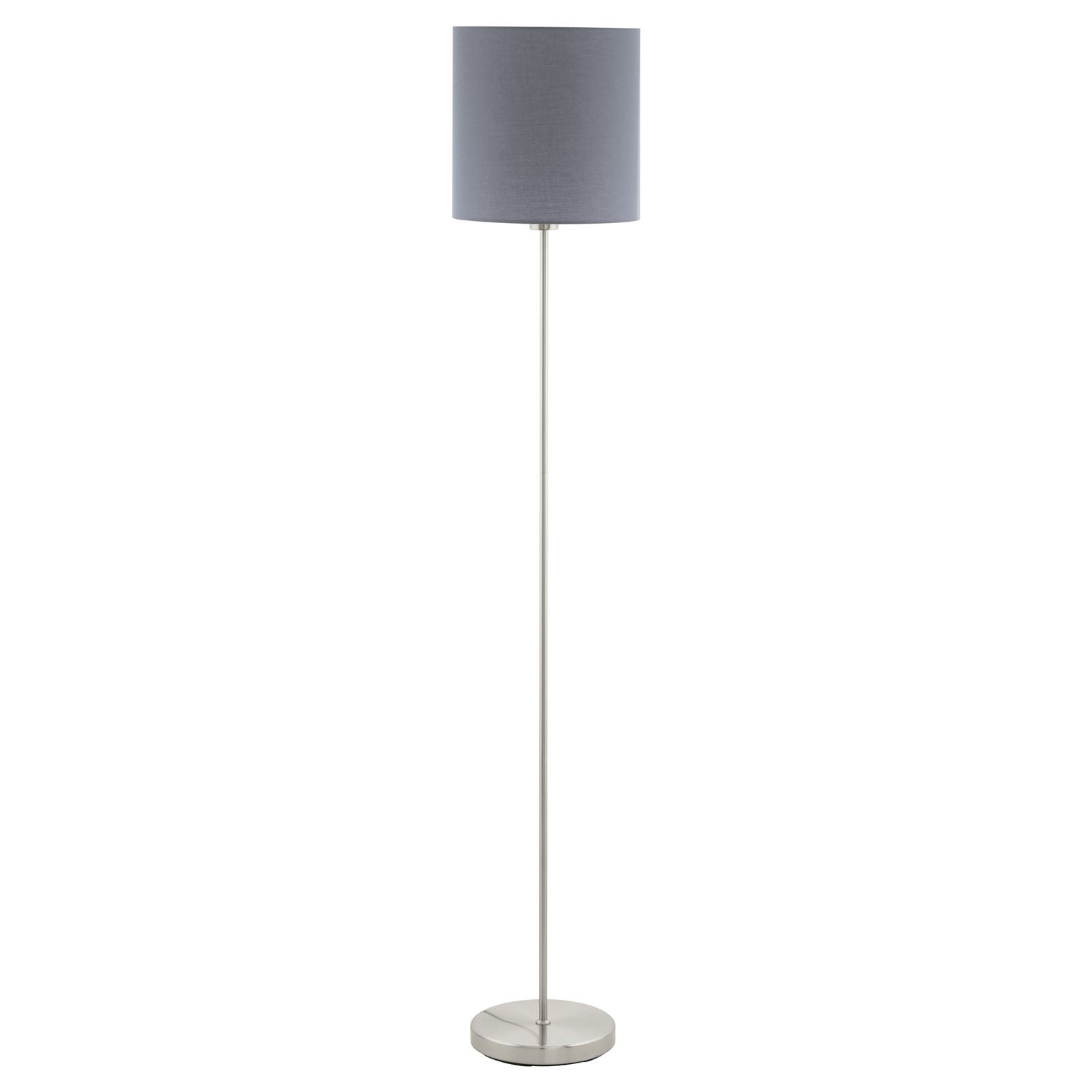 Pasteri Satin Nickel Floor Lamp Grey Shade With Foot-Switch