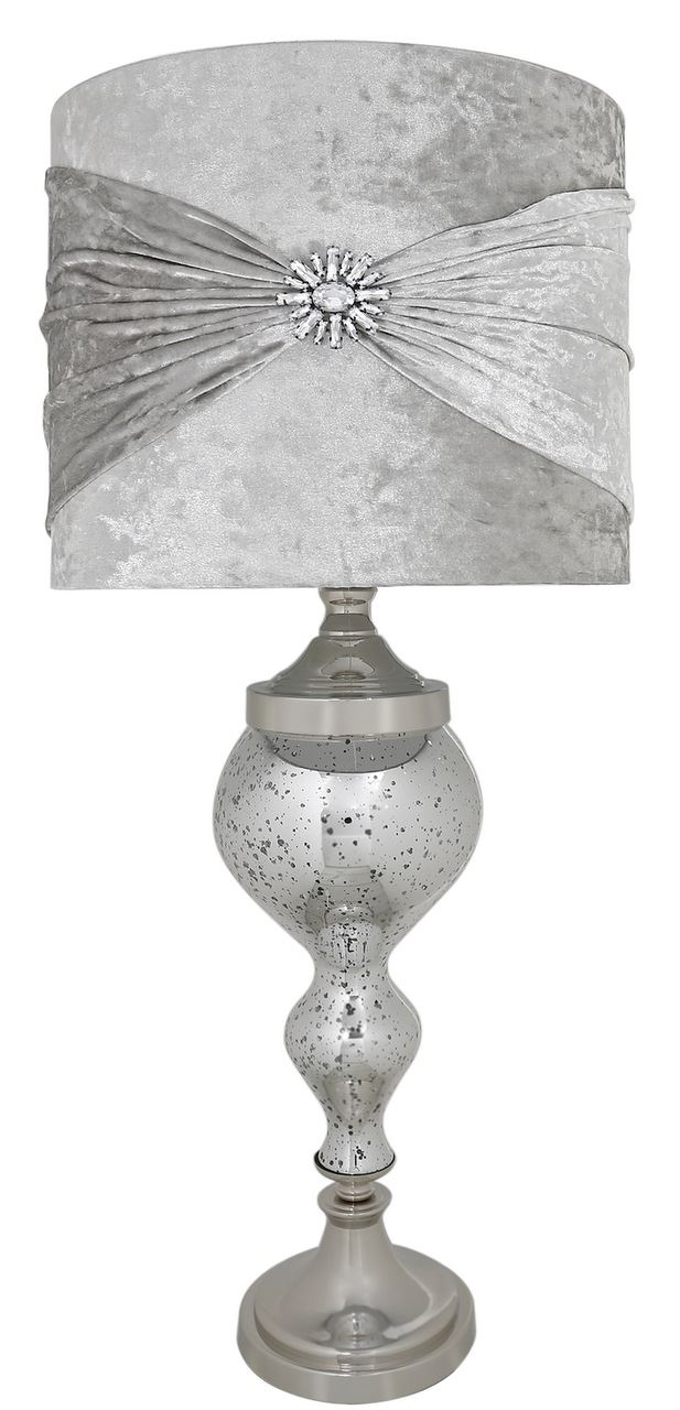 Silver Mercury Glass Chrome Curve Table Lamp With Silver Velvet And Crystal Shade