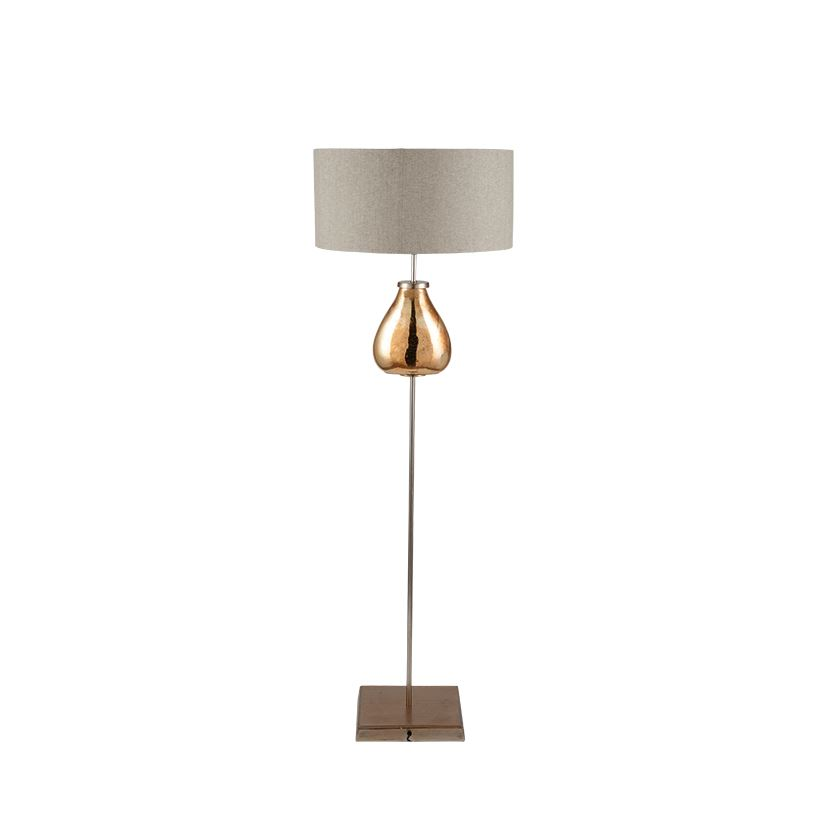 Gold Glass & Metal Floor Lamp With Beige Shade