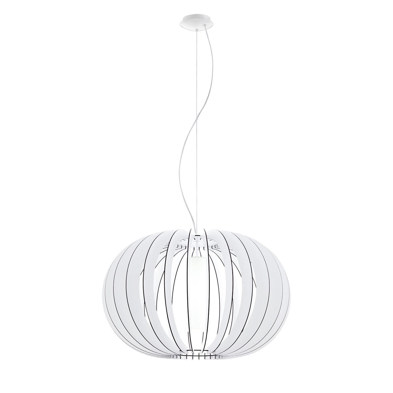 Stellato Steel Hanging Pendant 1 Light E27 Dia 700mm Wood Glass White Shade