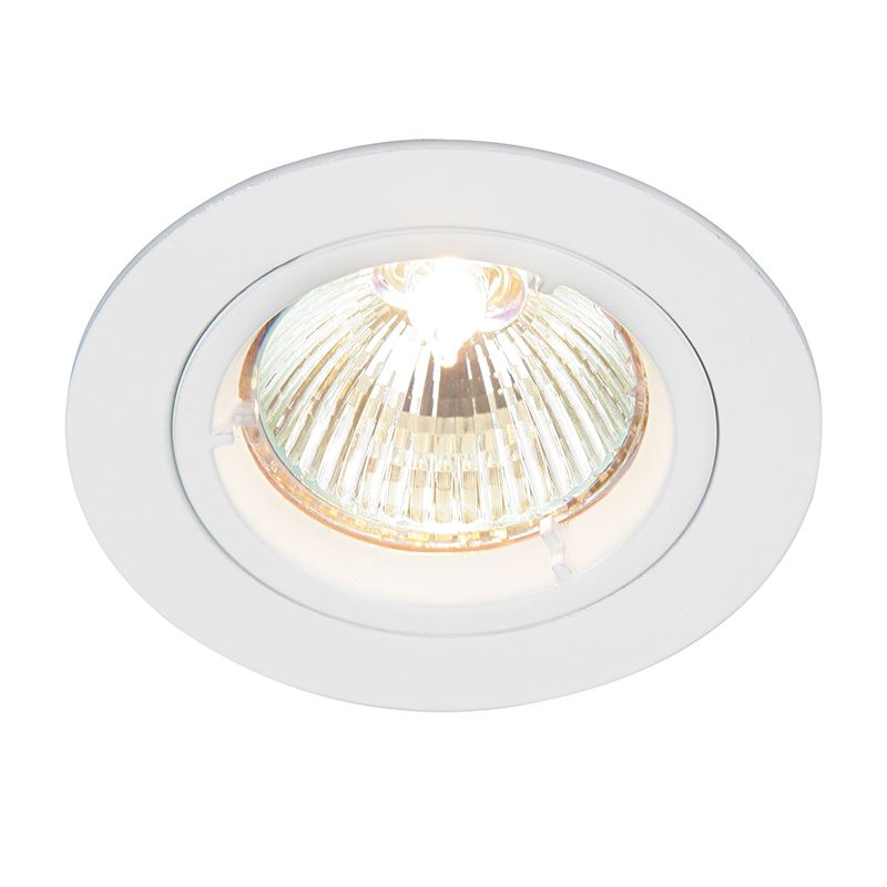 Cast fixed 50W recessed light gloss white paint