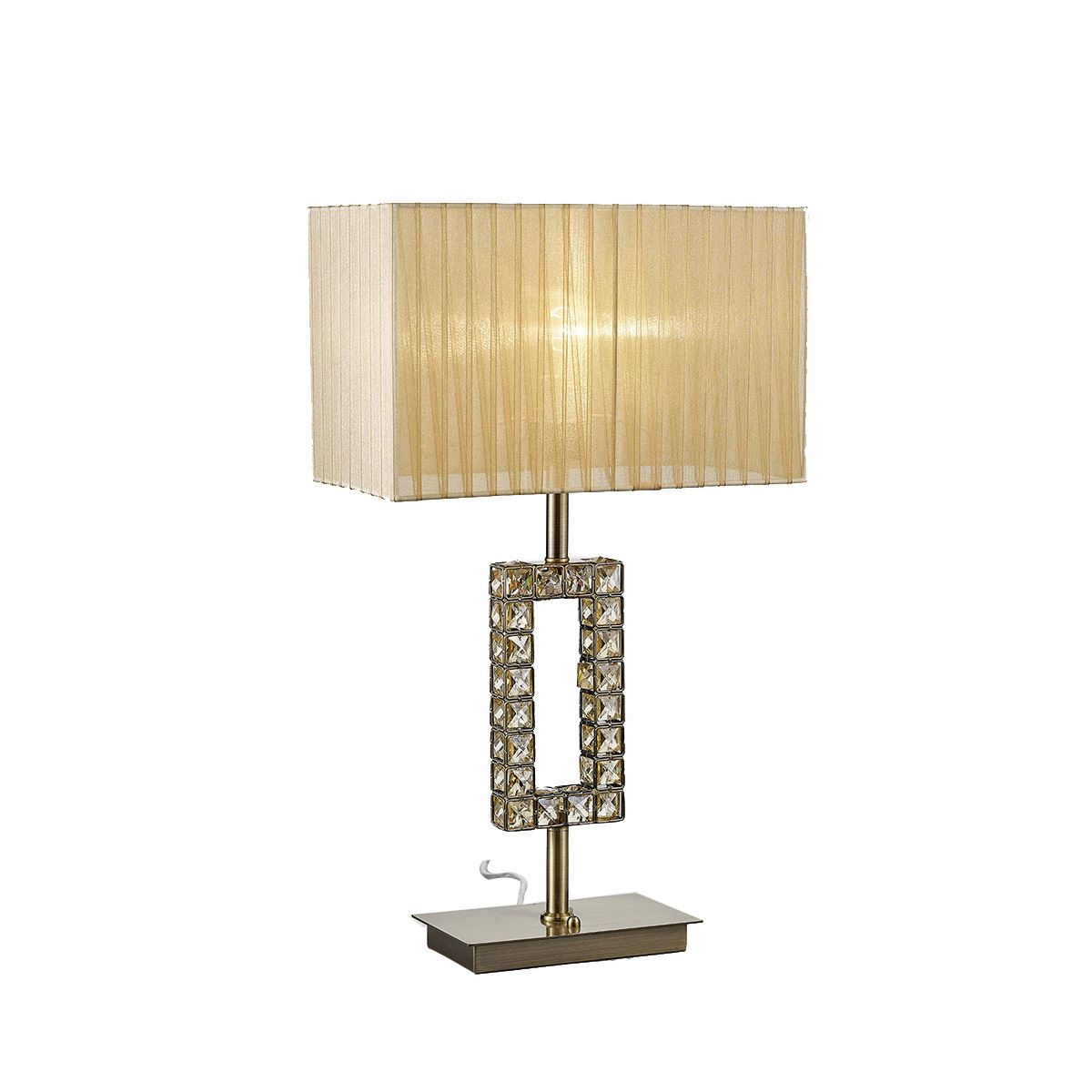 Florence Rectangle Antique Brass Table Lamp With Bronze Shade