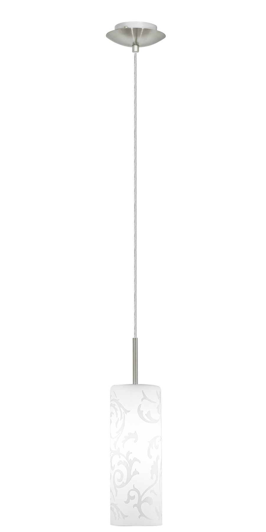 Amadora Hanging 1 Light Pendant Steel Nickel Matt White Printed Glass Shade
