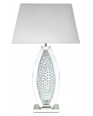 Mirror Large Floating Crystal Oval Table Lamp With White Shade