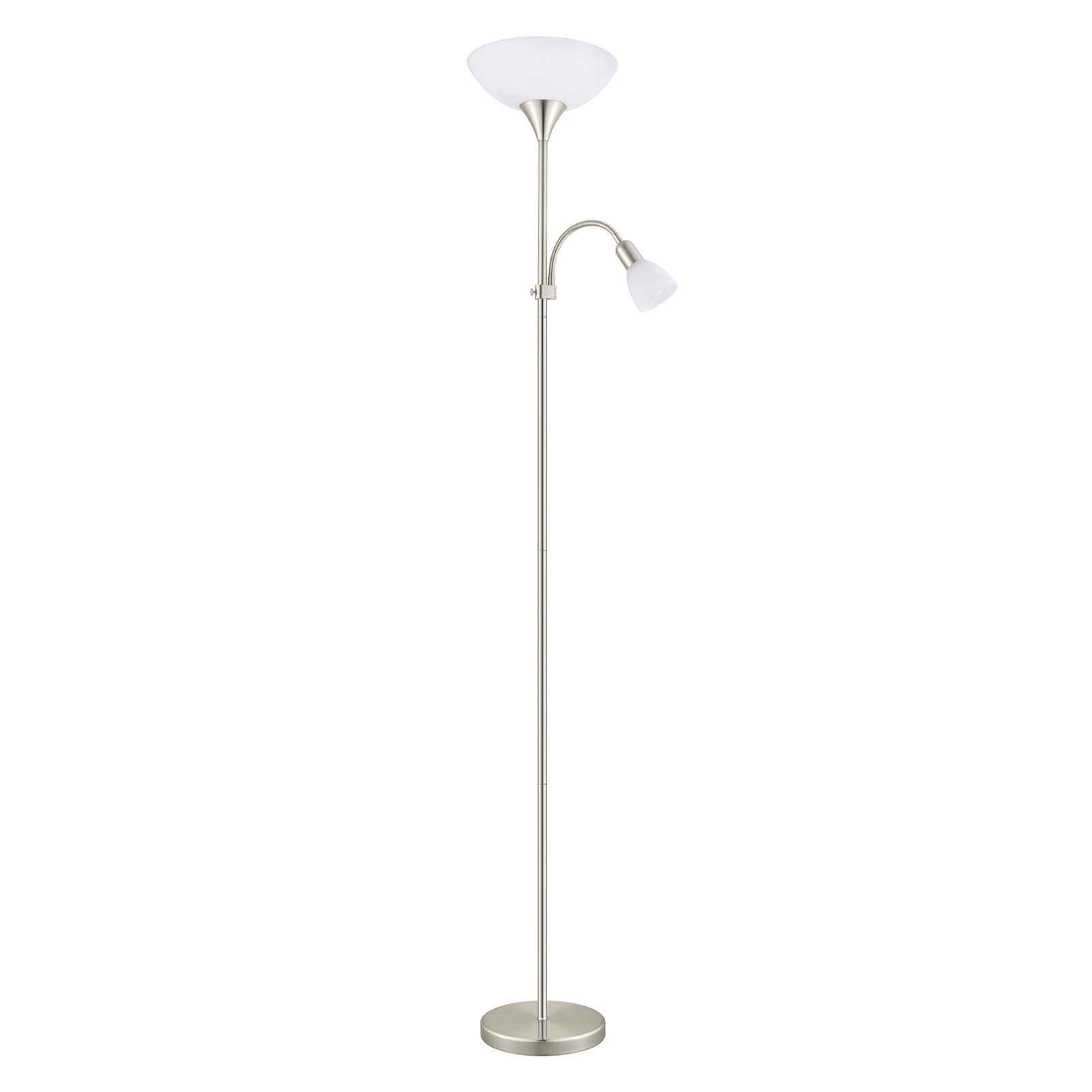 Up Floor Lamp Plastic Glass White Shade With In-Line Switch