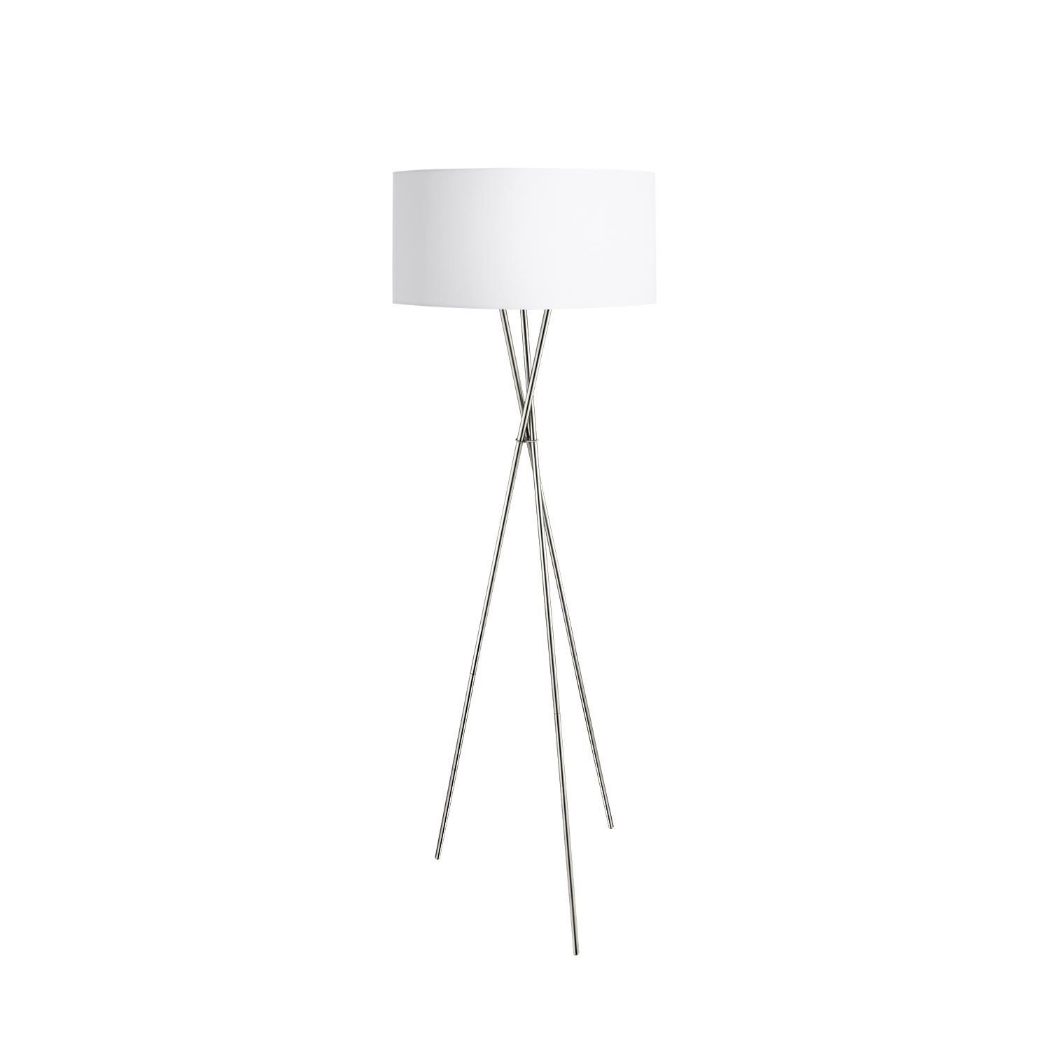 Fondachelli Floor Lamp 1 Light White, Silver Fabric Shade Foot-Switch