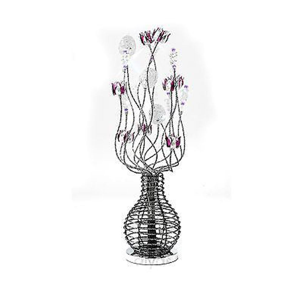 Modern Design Table Lamp 5 Light Black/Purple/Chrome/Crystal