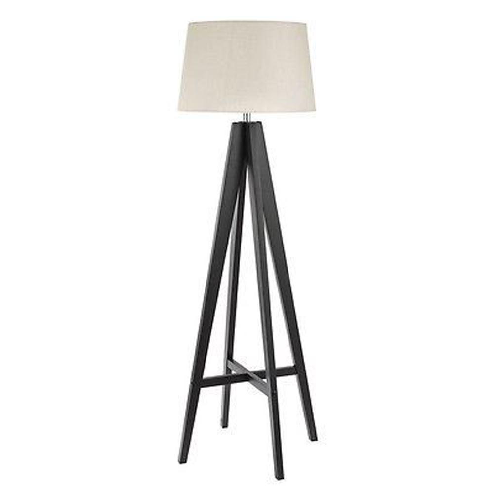Tripod - Floor Lamp Dark Wood - Cream Linen Shade