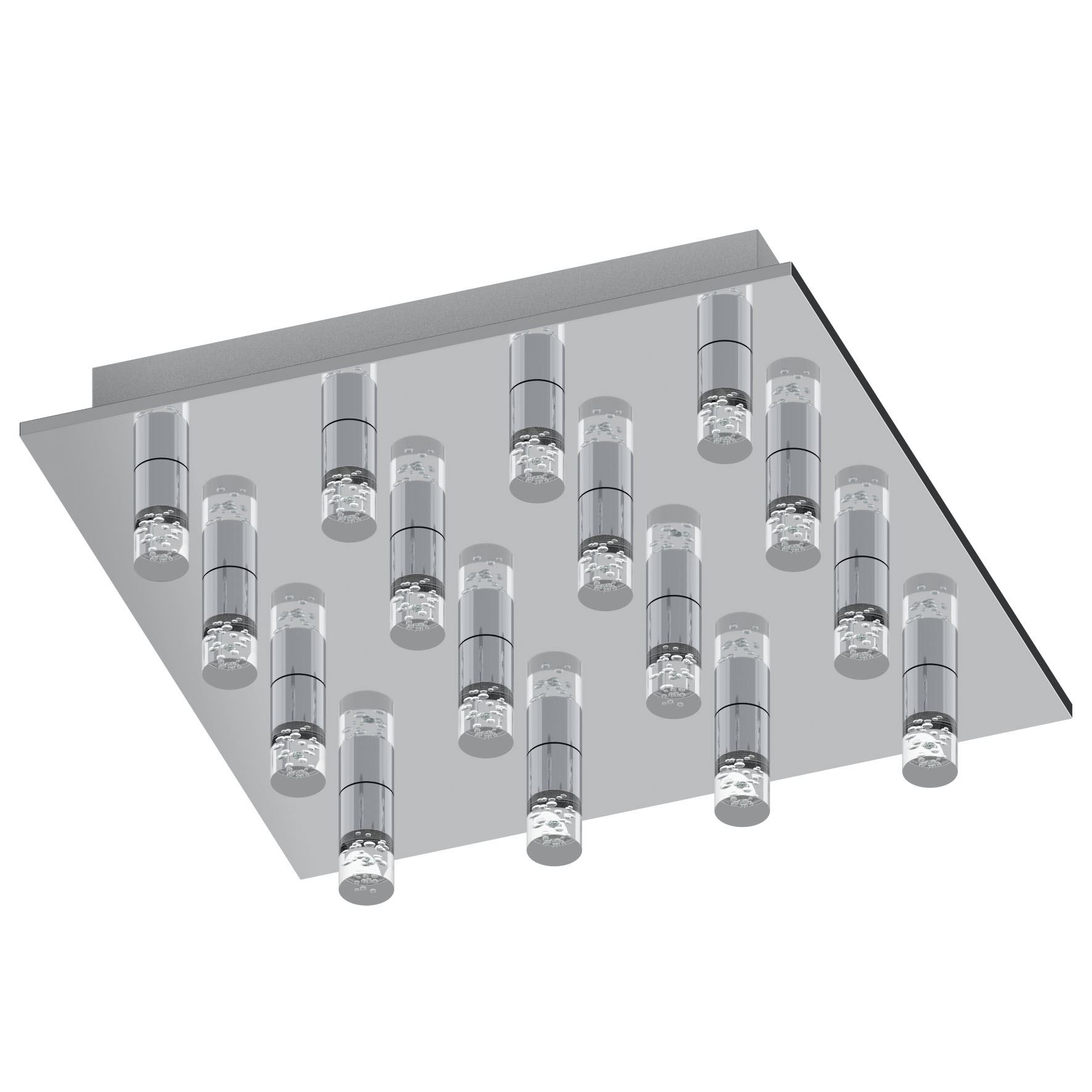 TEOCELO Modern LED Ceiling Light 16 Light Chrome Clear Finish