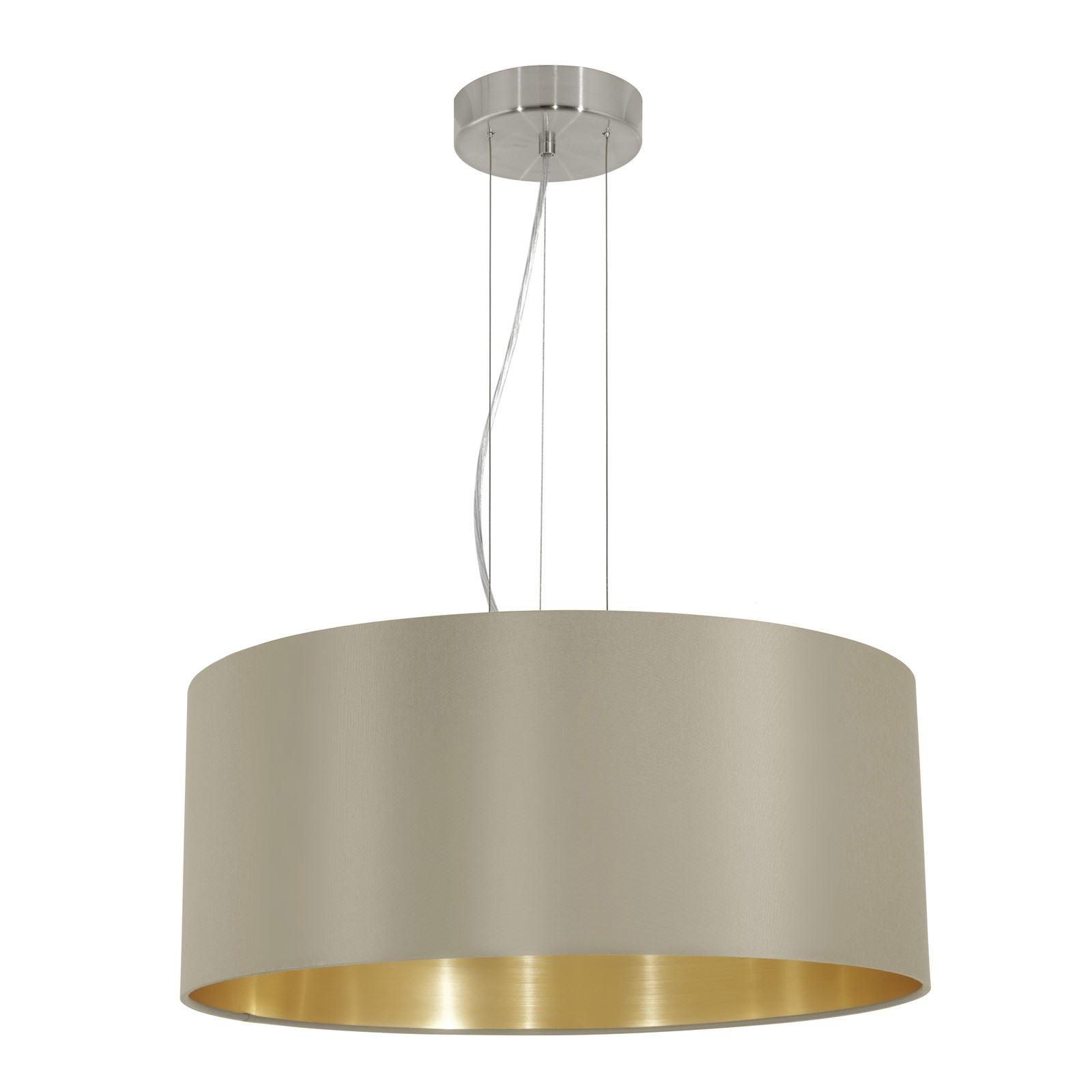 Maserlo Steel Hanging 3 Light Satin Nickel Fabric Matt Taupe Shade
