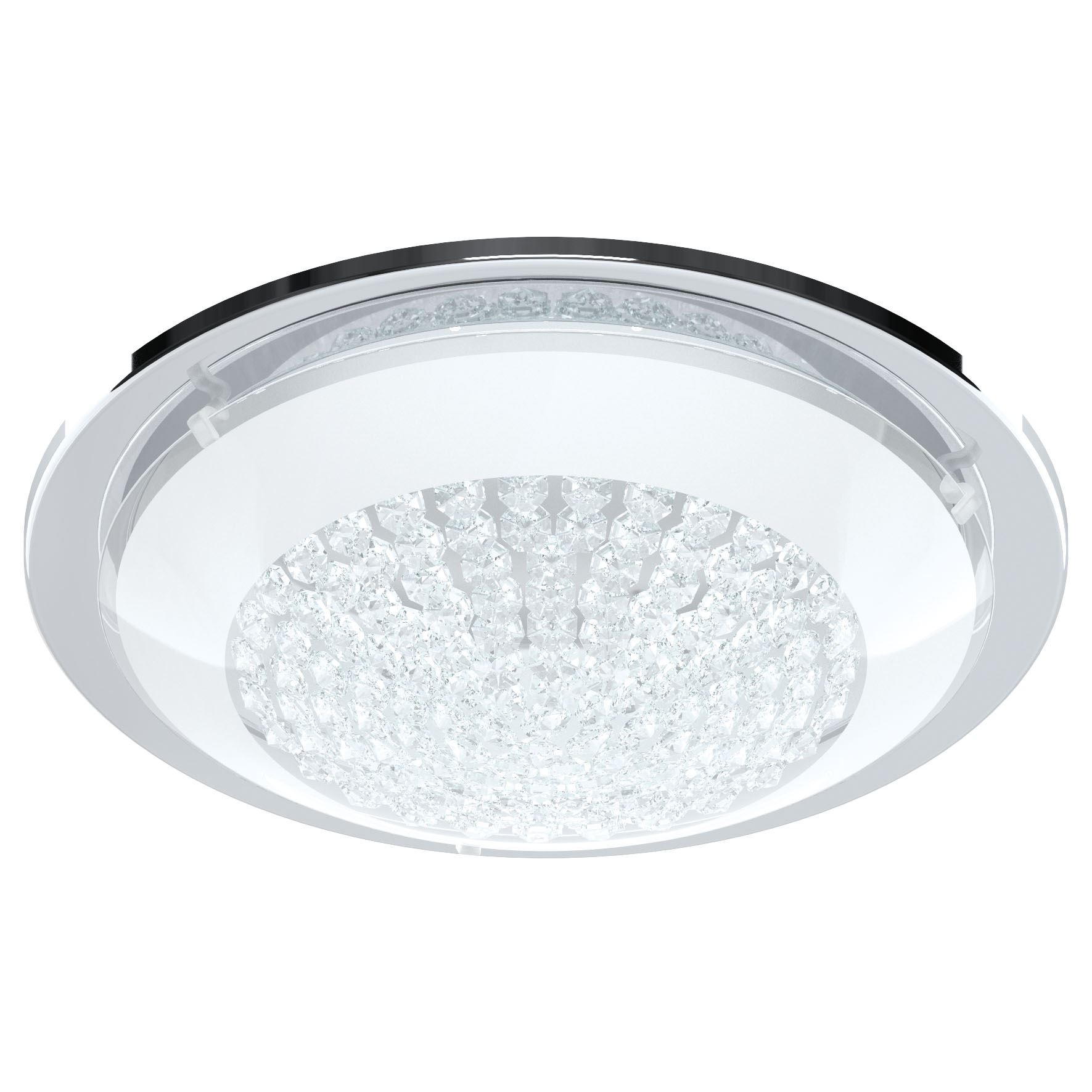 Acolla LED Ceiling Light Glass Crystals Chrome White Clear Dia 290 mm