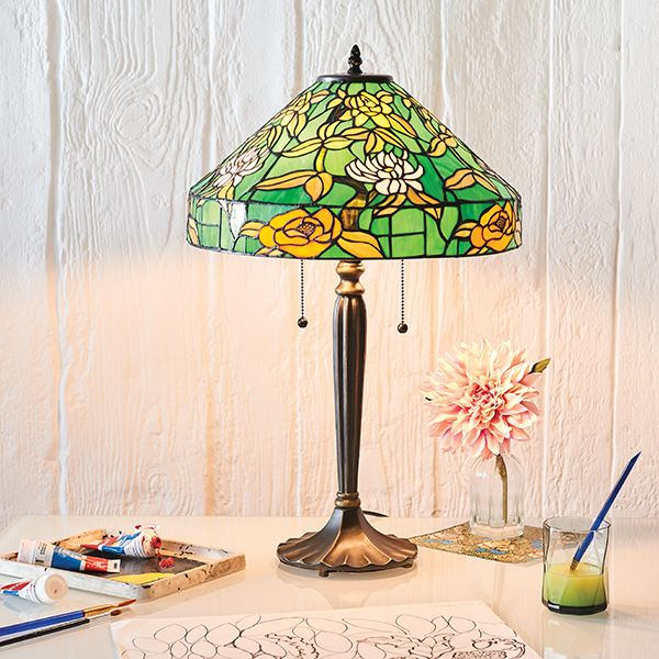 Agapantha Tiffany Style Green Table Lamp Pull Chain Switch 40W