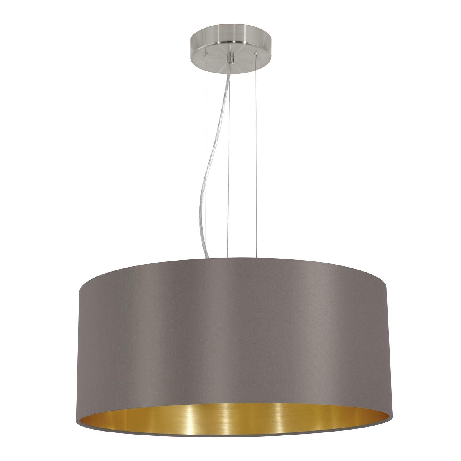 Maserlo Steel Hanging 3 Light Satin Nickel Fabric Matt Cappuccino Shade