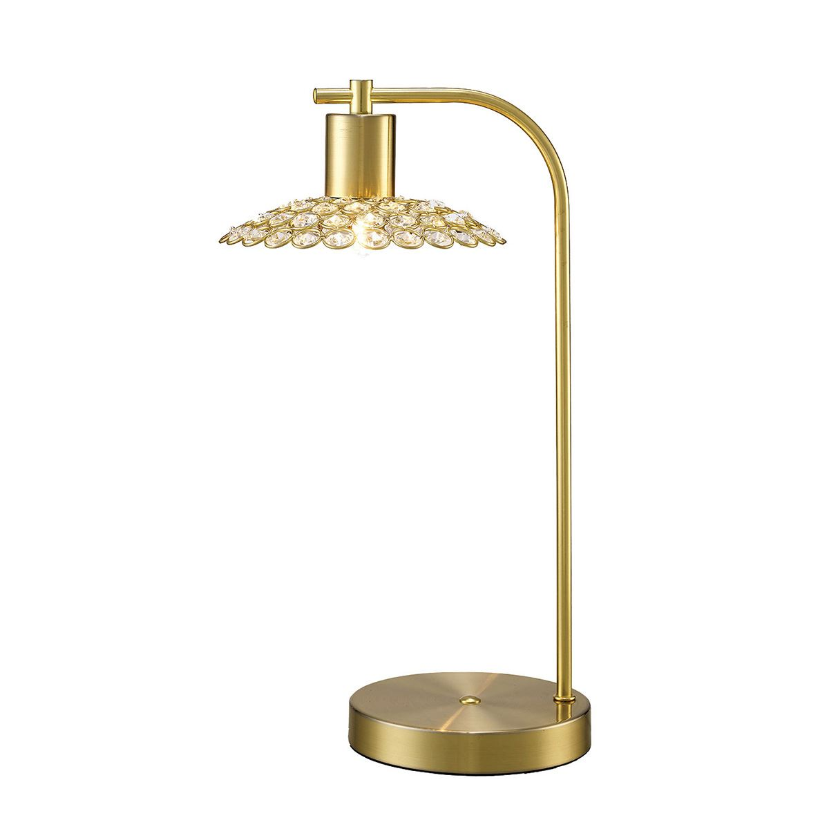 Ellen 1 Light Table Lamp Satin Brass With Crystal Shade