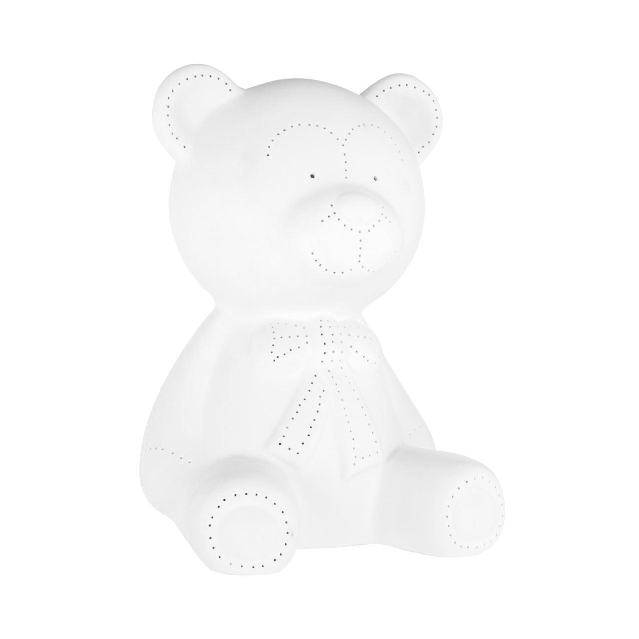 Kids Bear Night Light, White Porcelain, In-Line Switch