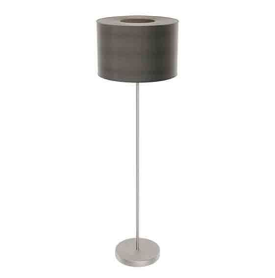 Romao Led Floor Lamp Fabric Linen Brown Shade Touchdimmer Switch