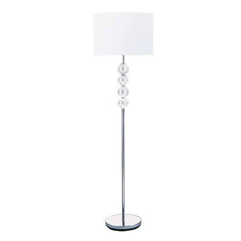 Floor Lamp - Chrome/Glass Complete With White Shade