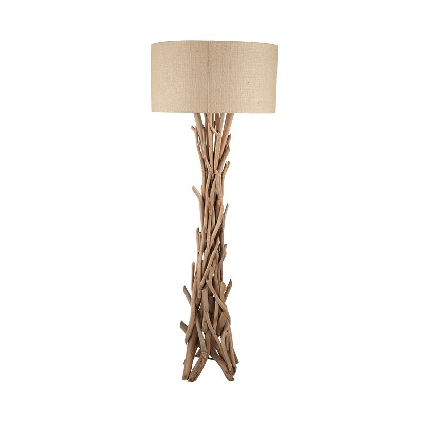 Drift Wood Floor Lamp With Natural Jute Shade