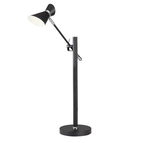 Diablo LED Matt Black & White Chrome Table Lamp