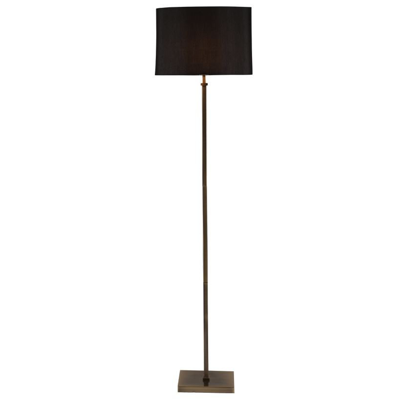 Antique Brass Square Stick Floor Lamp Black Shade