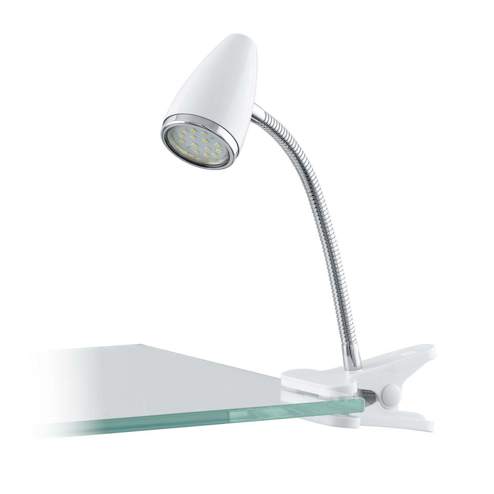 Riccio Clip Lamp 1 Light Gu10-Led Plastic Steel White Chrome