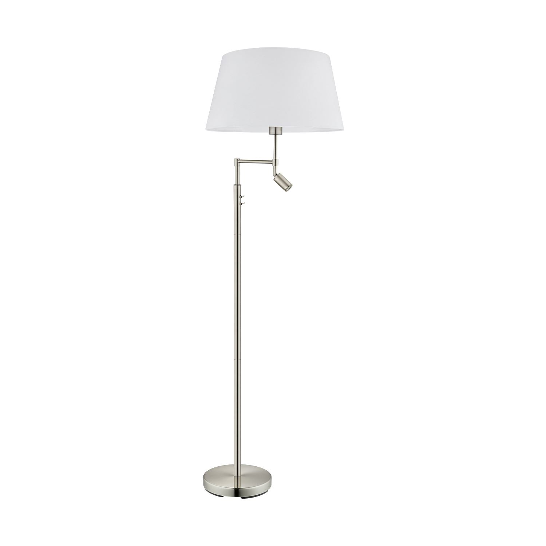 Santander Floor Lamp Fabric White Shade Rocker Switch 5 Years Warranty