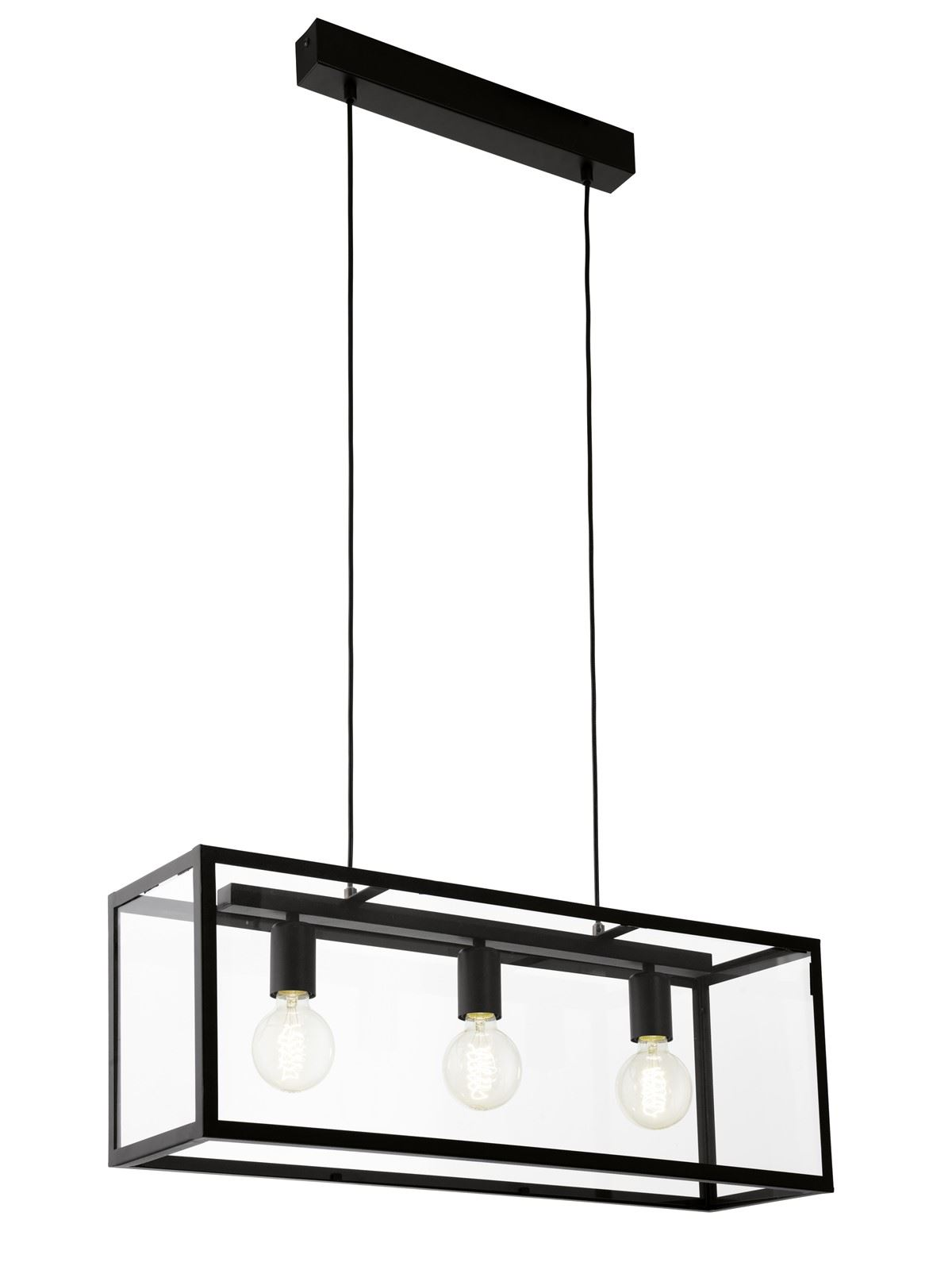 Charterhouse 3 Hanging Light Black Clear Glass Shade