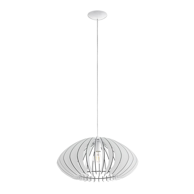 Cossano Steel 1 Hanging Light Dia 500mm White Wood Shade