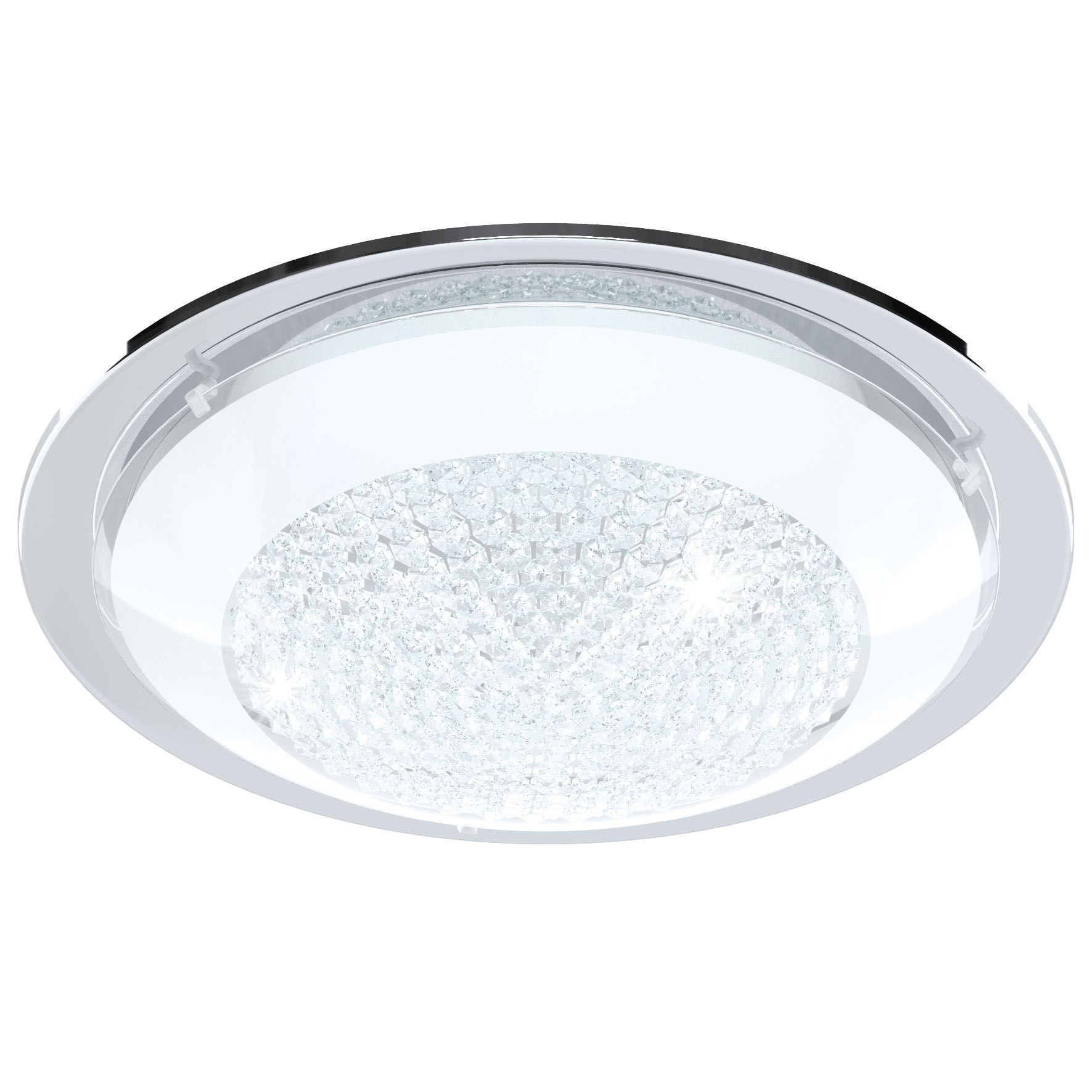 Acolla LED Ceiling Light Glass Crystals Chrome White Clear Dia 370 mm