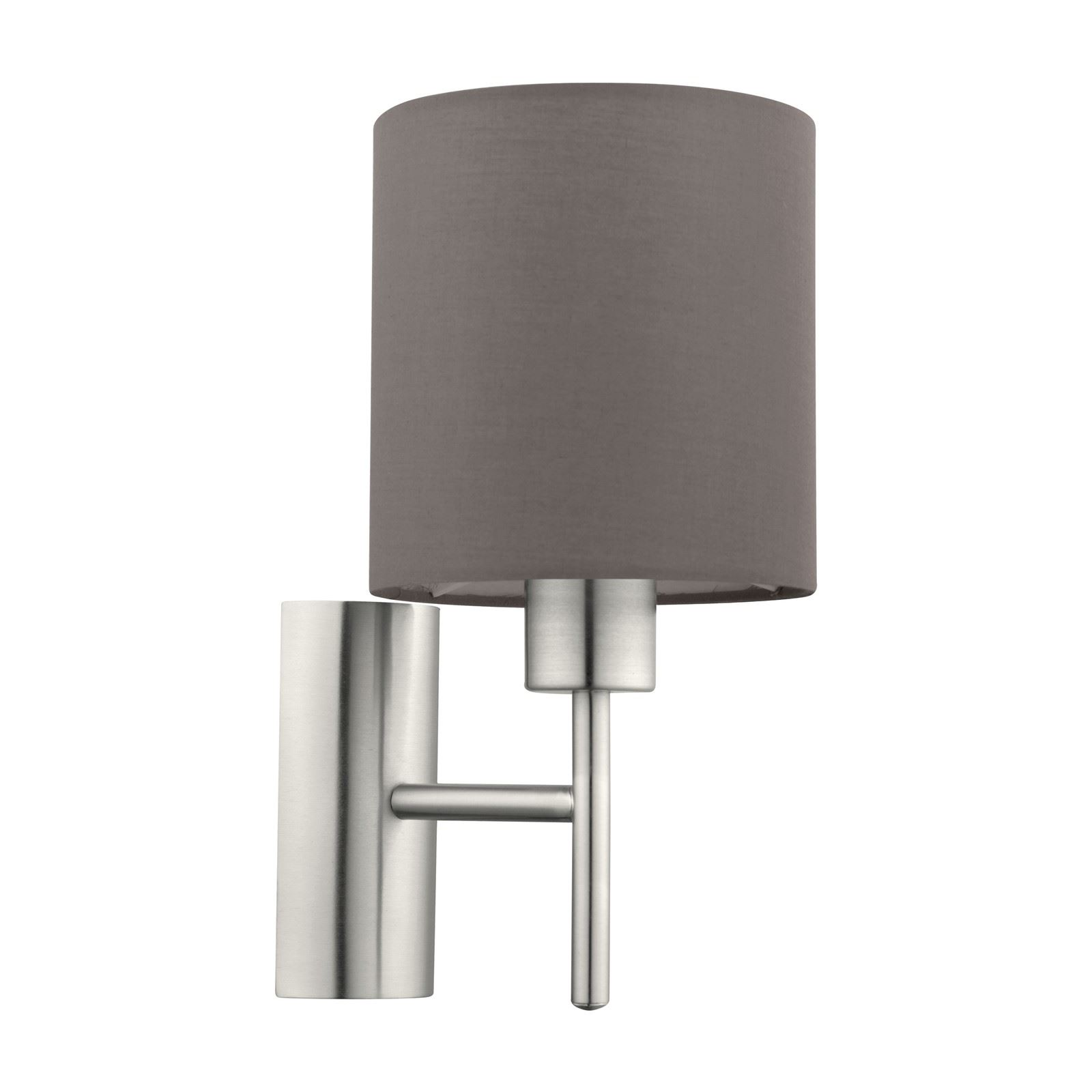Pasteri Wall 1 Light With Rocker Switch Fabric Matt Anthracite-Brown Shade