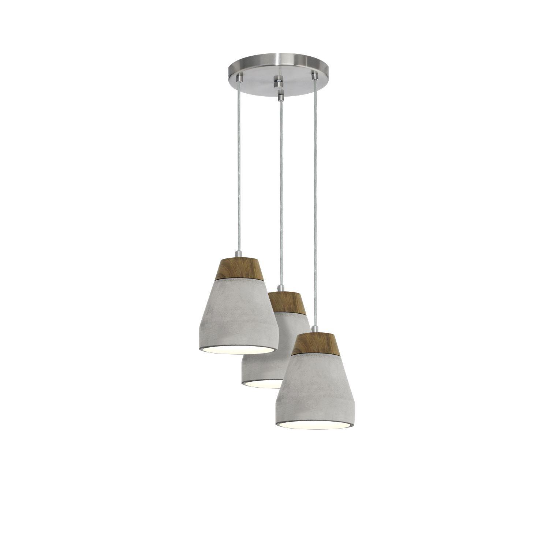 Tarega 3 Pendant Hanging Lights E27 Wood Concrete Brown Grey