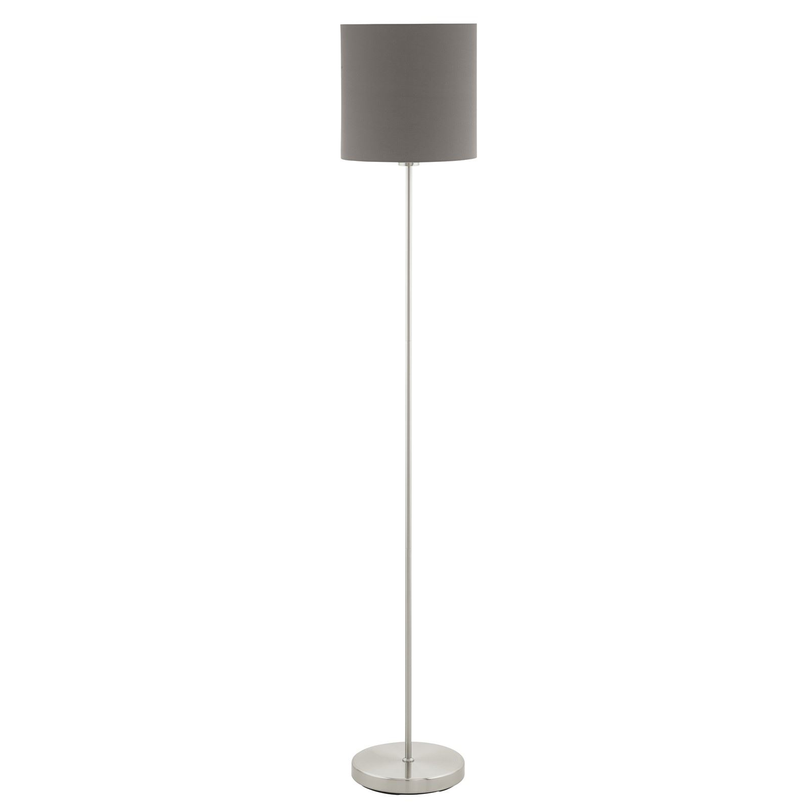 Pasteri Satin Nickel Floor Lamp Anthracite Shade With Foot-Switch