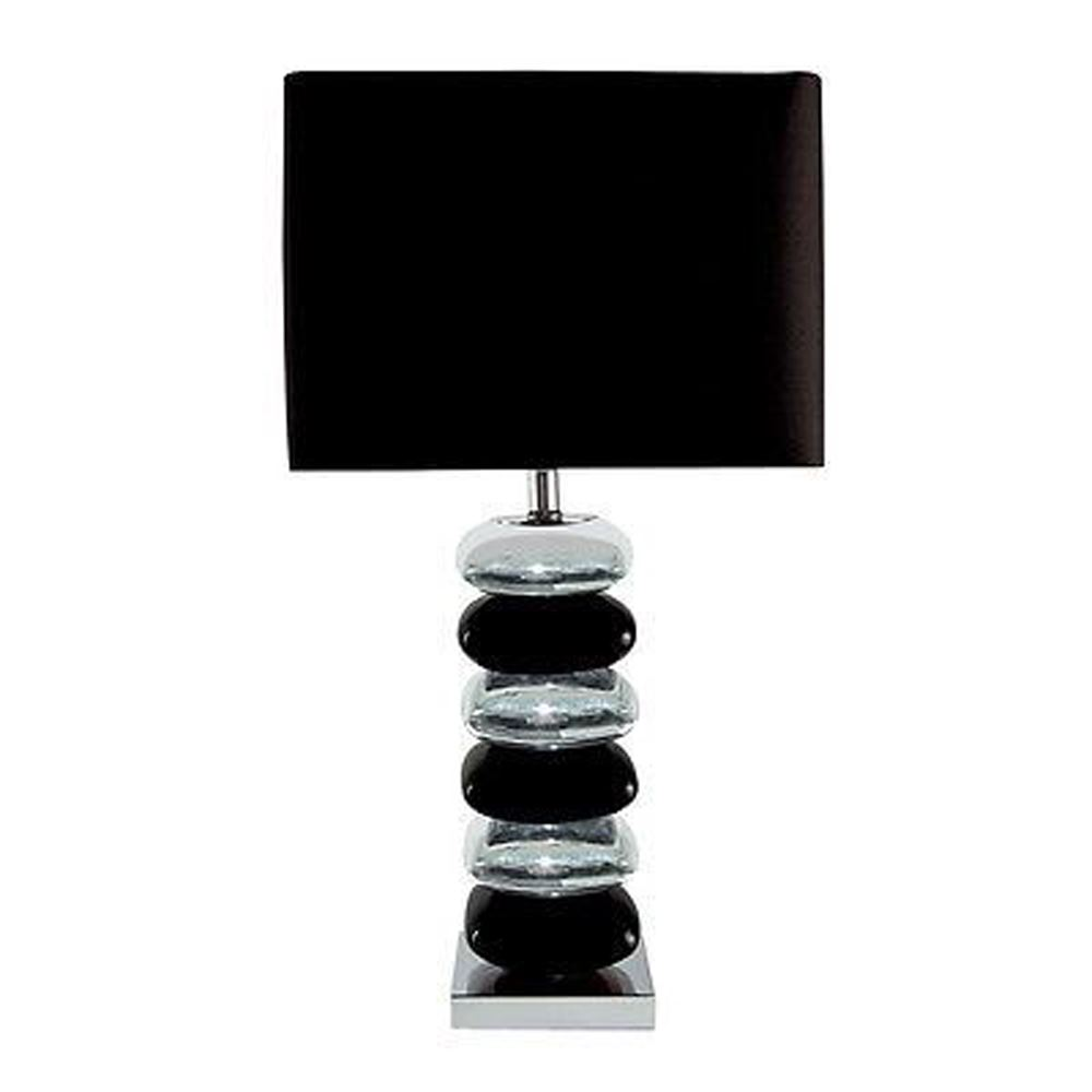 Pillow Black/Silver Chrome Stacked Table Lamp Chrome Base With Black Shade