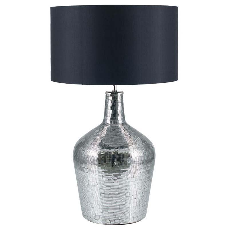 Silver Mosaic Bottle Shape Table Lamp - Striking Metallic Bottle Lamp Base