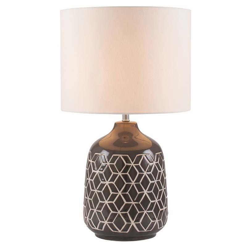 Dark Grey Geometric Ceramic Table Lamp And Cylinder Shade
