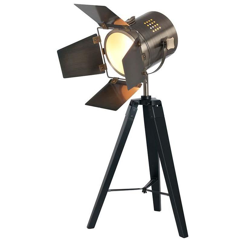 Black Wood Film Light Floor Lamp Antique Brass Head Traditional