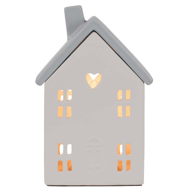 Grey Ceramic House Cut Out Table Lamp