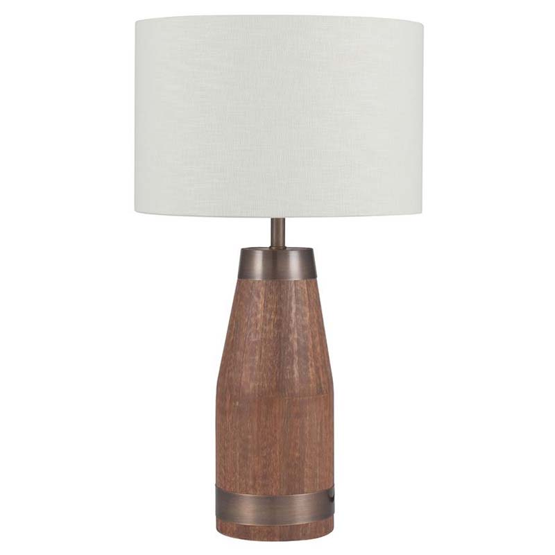 Wood And Metal Bottle Table Lamp