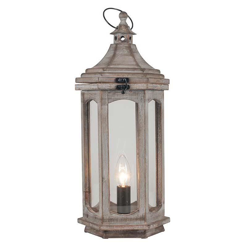 Antique Wood Grey Lantern Table Lamp
