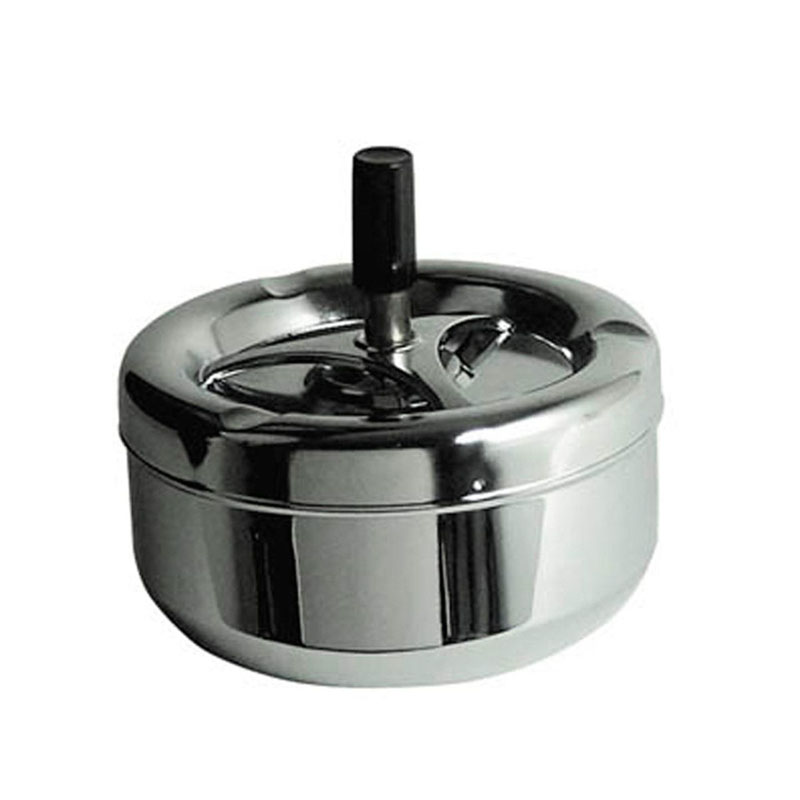 Spinning Ashtray,Large Chrome Effect,Black Handle Detail