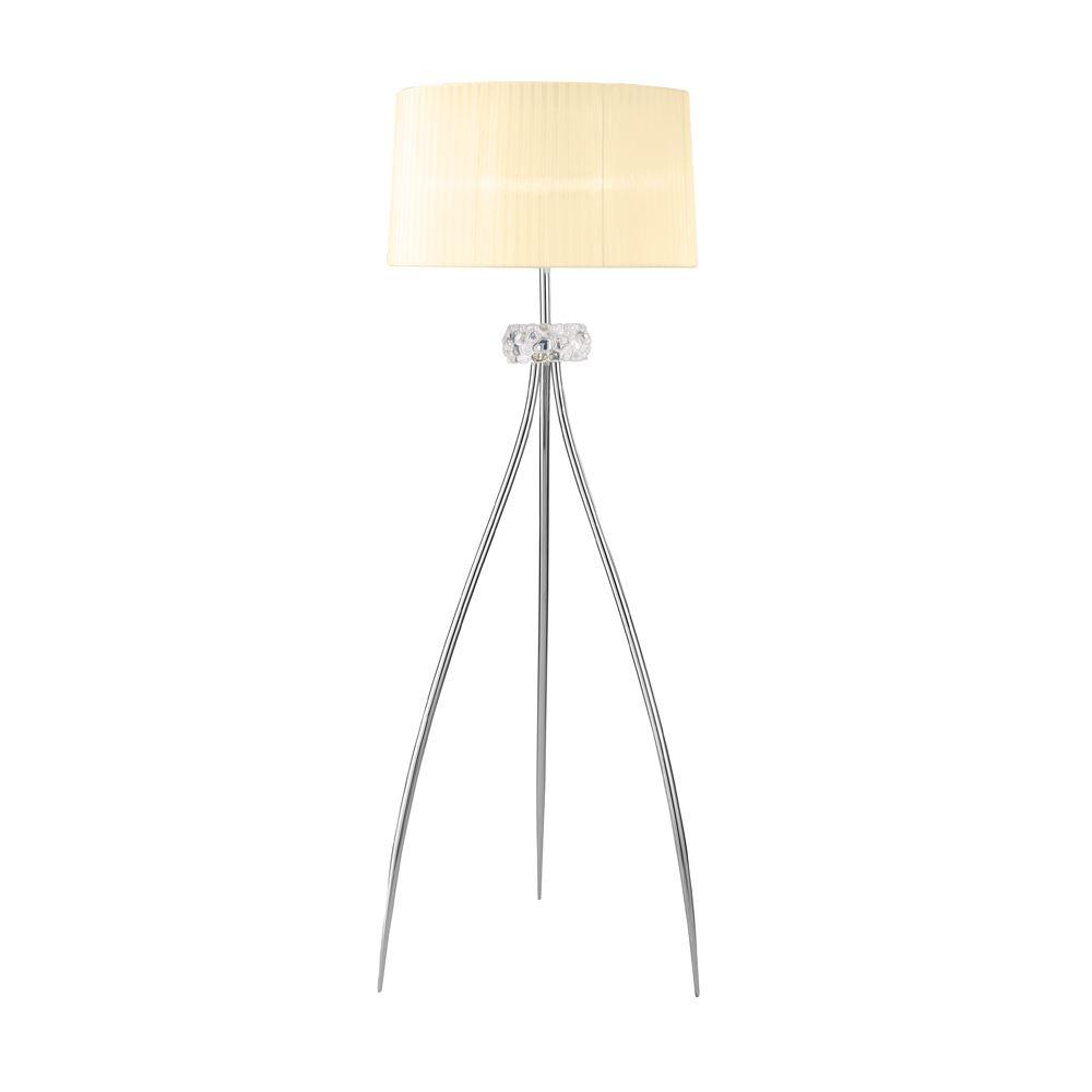 Loewe Modern Polished Chrome 3 Light Tripod Floor Lamp With White Fabric Shade