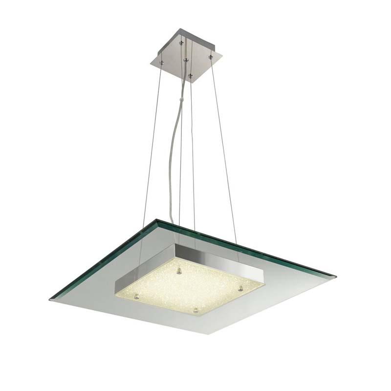 LEXI SQUARE LED GLASS PENDANT, 16W, CHROME