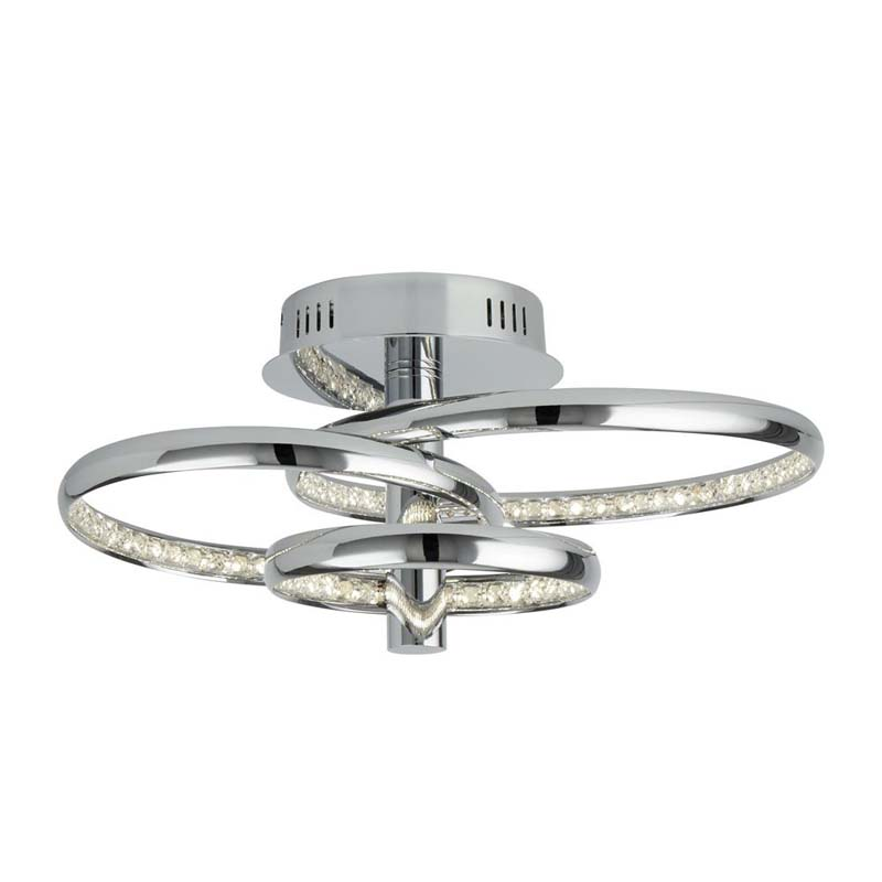 3 Rings Led Ceiling Flush, Chrome, Clear Crystal