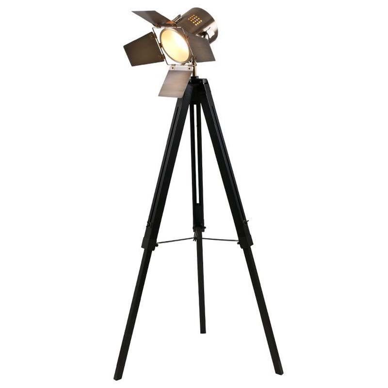 Designer Black Wood Tripod Film Light Floor Lamp Antique Brass Head Industrial