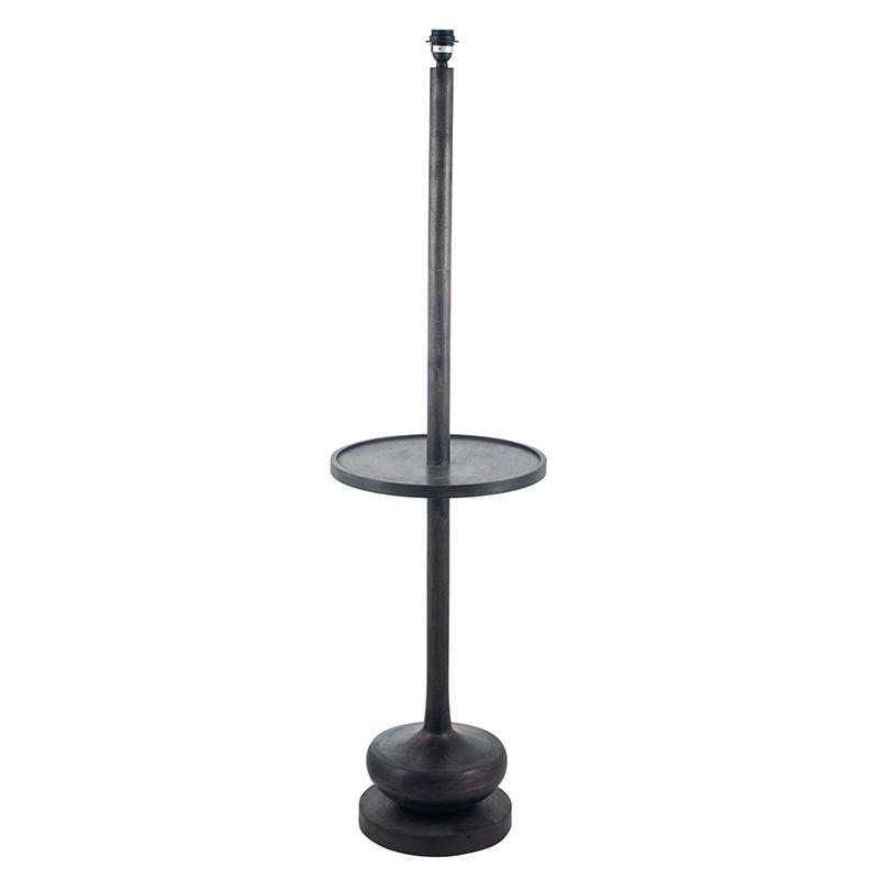 Dark Wash Wood Floor Lamp with Table