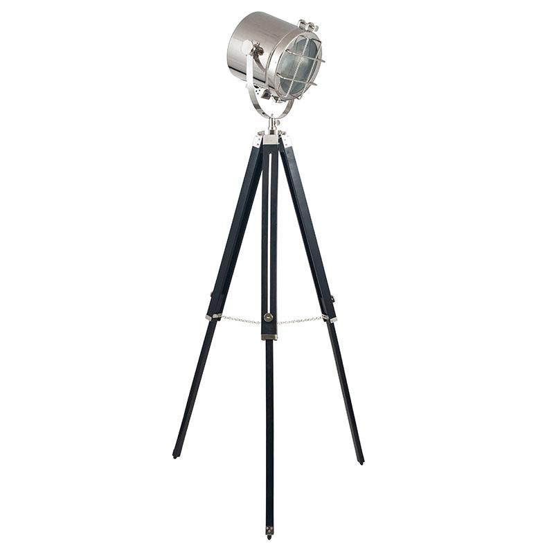 Black and Silver Tripod Marine Floor Lamp